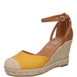Scarpe larghezza E gialle con punta rotonda tacco a zeppa per l'estate con plateau per Donna Xti