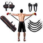 YNXing Strength Training Rope per Boxe, Basket, Scherma Allenamento Resistenza Corda Blu Stretch Cord Tensione Corda Attrezzature per Il Fitness (Kit Nero)