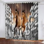 YUNSW Tende con Stampa Digitale 3D A Cavallo Creativo, Tende Oscuranti per Camera da Letto Cucina Soggiorno Giardino, Tende Perforate Set 2 Pezzi