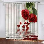 YUNSW Tende con Stampa Digitale 3D A Fiore Rosa, Tende Oscuranti per Camera da Letto Cucina Soggiorno Giardino, Tende Perforate Set 2 Pezzi