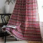 YUNSW Tende di Lino in Cotone Rosso Boho Nappe Etniche Cucina Soggiorno Camera da Letto Tenda Decorativa 1 Pezzo