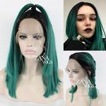 ZanaWigs, parrucca sintetica con pizzo frontale, parrucca corta per donne nere e verde sfumata, resistente, 150% di densità